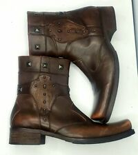 Lounge By Mark Nason: Brown Leather Zip Skull Studded Ankle Boots | Mens Size 11