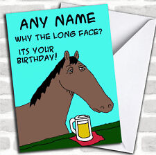 Horse Long Face Funny Birthday Customised Card
