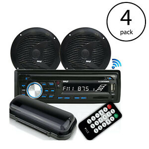 "Pyle Marine Bluetooth Stereo Receiver & 6.5"" Speaker Pair with Remote (4 Pack)"