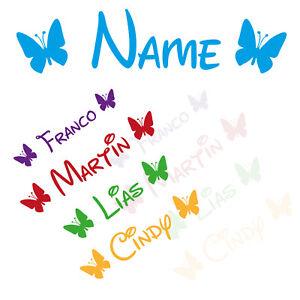 Aufkleber Name + 2 Schmetterlinge|  Fahrradaufkleber Wunschtext Fahrrad Sticker