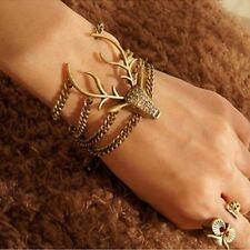 Retro Full Rhinestone Mysterious Deer Head Bracelet for women bangles Sale