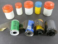 5 Vtg Kodak Metal 35 mm Film Canisters Lot Red White Yellow Blue 4 Film A8581