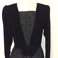 Vintage Lanz Original Black Taffeta Velvet Polka Dot Dress Long Sleeve 10 USA