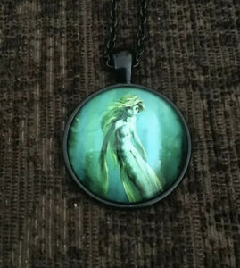 Mermaid Design Cabochon Glass Fashion Necklace With Black Chain.