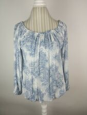 TOMMY HILFIGER Womens Paisley Pleated Blue Hawaii Casual Top M