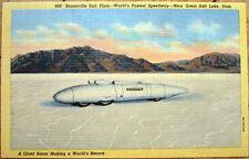Race Car at Bonneville Salt Flats - Utah UT - 1950 Linen Postcard