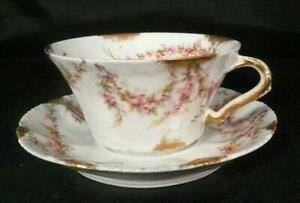 Stunning Theodore Haviland Limoges Cup & Saucer Rose Swags 4 Available