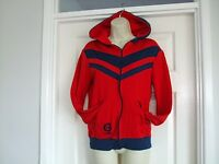 Lamont Mens Red Navy Blue Vintage Casual Hooded Jacket Size Small Zip Up Winter