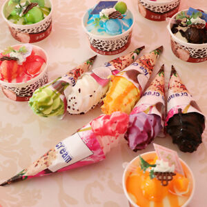 6Pcs Artificial Ice Cream Cone Realistic Food Fake Dessert Photography Props
