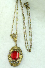 ANTIQUE ART DECO BRASS FILIGREE RED GLASS LAVALIERE NECKLACE