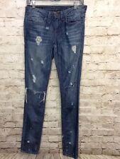 William Rast Women's Jerri Ultra Skinny Destroyed Jeans Size 26 Medium Wash