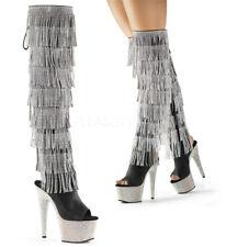 "7"" Black Silver Bejeweled Pleaser Platform Stripper Burlesque Thigh High Boots 9"