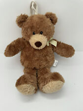 """Carter's Classic Musical Brown Bear 13"""" Yellow Bow Plush Toy Pull String Lovey"""