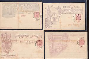 Timor 4 illustrated stationery postcards used not sent (rust age spot see scan )