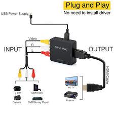 Wavlink 3RCA CVBS Composite AV to HDMI Converter Adapter&Mini Composite&1080P