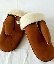 Vintage Genuine Real Sheepskin Mittens Gloves Tan Cosy Large