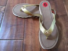 New COACH A01045 SHELLY SANDAL gold Flats Sandals Flip Flops Size 6