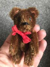 Rare Mini 3� Vintage Schuco Mohair Brown Originally Manufactured Dressed Bear Nr