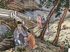 "$580 Vtg NWT Chinese Figural Wiseman Geisha Kid Bridge Needlepoint Tapestry 34"""