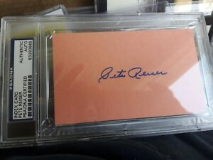 Pete Reiser 1940 Brooklyn Dodgers Signed 3x5 Index Card PSA/DNA ENCAPSULATED