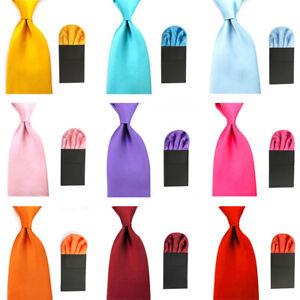 Men's Wide 8CM Necktie Ties Pre-folded Puff Handkerchief Pocket Square Set