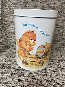 Vintage 1983 Care Bear Tin Canister Storage Container Remember to Add the Love!