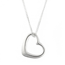 Silver Love Heart Pendent Necklace Chain Floating Gift Girlfriend Jewellery UK