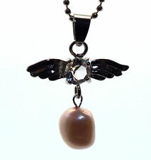 Guardian Angel Inspired Pink Freshwater Pearl  Crystal Pendant
