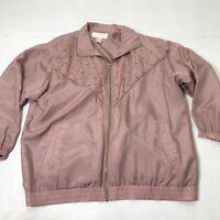 Vintage Women's Plus Size 1X Maurada Blush Pink Silk Full Zipup Blazer Top