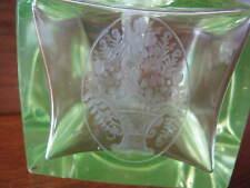Antique Czech Perfume Bottles Green Vaseline Etched Crystal Glass Art Deco