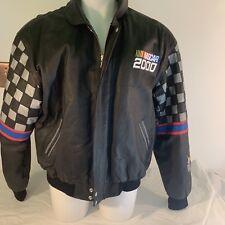NASCAR 2000 Embroidered Leather Classic Jacket XXL Jeff Hamilton Racing Black