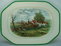 "SPODE china HERRING HUNT 2/9265 Camilla Green OVAL MEAT Turkey PLATTER 17"" Kill"