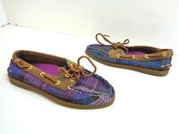 Women's SPERRY TOP-SIDER Suede A/O 2 Eye Boat Shoe Purple Plaid Size 5.5 M