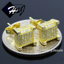 MEN 925 STERLING SILVER SQUARE 7MM LAB DIAMOND ICED BLING GOLD STUD EARRING*GE90
