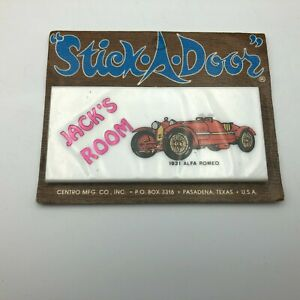NOS Vintage Jack's Room 1931 Alfa Romeo Cento Mfg Stick-A-Door Sign   Y2