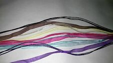5 NEW ORGANZA RIBBON & CORD NECKLACES Blue Brown Pink Purple & Yellow