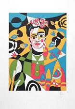 Grafica firmata a mano Stefano Fiore, Frida Kahlo ritratto destrutturato 2021