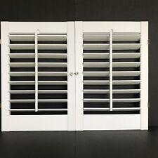 "2 Panel Set White Vinyl Louvered Interior Window Shutters 32 1/2"" w  x 24"" h"