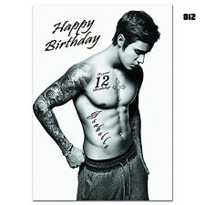 g012; Large personalised BIRTHDAY CARD; Made with any name & age; Justin Bieber