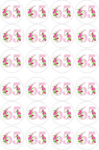 24 edible 65th Birthday pink roses Iced Icing Fondant 4cm Cupcake Toppers Cake