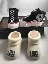 New 2 pair Converse Chuck Taylor 0-6 Months Baby Booties Infant Black White Gift