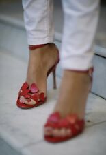NIB VALENTINO LOVE HEARTS L'AMORE RED SANDALS SHOES HEELS $1075 37 7