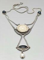 Art Deco 925 Silber Collier mit Druse & Spektrolith Steinen bes. Handarbeit/A512