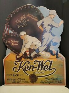 Vintage 1930s KEN-WEL Baseball Glove LOU GEHRIG Model Store PROMO DISPLAY Sign