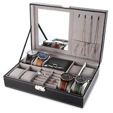 Black Men Women Jewelry Box 8 Grid Watch Box Organizer Storage Case with Lock