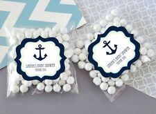 24 Nautical Ocean Theme Personalized Clear Candy Bags Baby Shower Favors