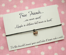 True Friends Never Apart Heart Charm Wish Friendship Bracelet Gift & Envelope