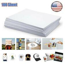 100pcs T Shirt A4 Iron On Heat Transfer Paper Inkjet Print Press Light Cotton Us