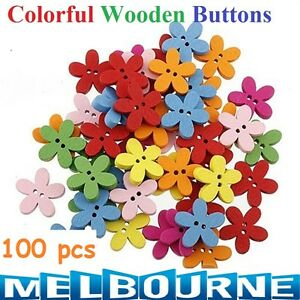 100 Pcs Candy Flower Flatback Wooden Colorful Buttons Sewing Craft Scrapbooking