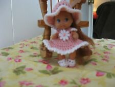 "ANTIQUE PINK & WHITE PINAFORE  DRESS FOR 2 1/4"" KRISSY DOLL"